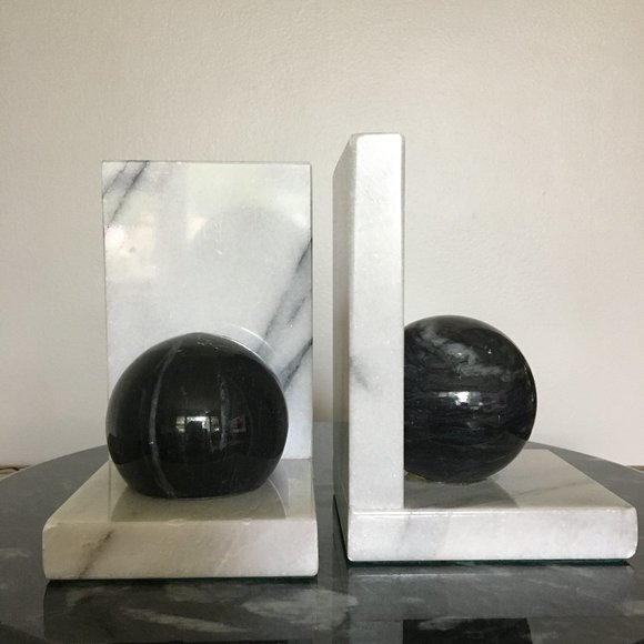 Vintage Pair of Black and White Marble Bookends
